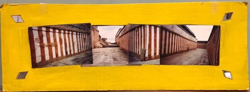 Kim MacConnel, 'Shravan Belagola, India, 1992, Photo Prints on Cardboard, Collage, Mirror Insets', 1990-1999