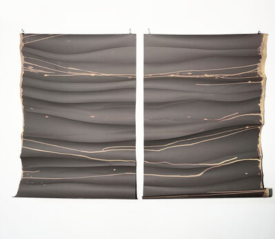 Missy Engelhardt, 'Gray Diptych with Bleach and Cuts', 2020