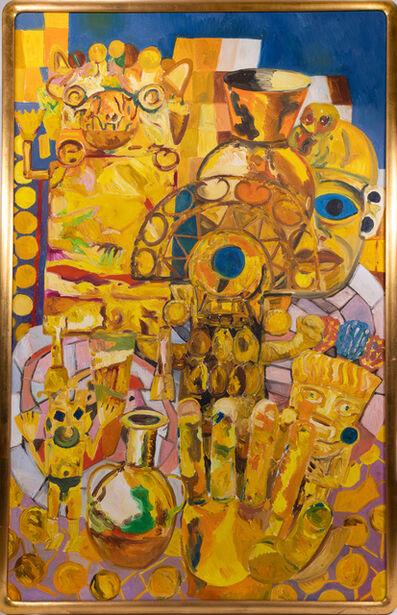 Hunt Slonem, 'Hunt Slonem Original Rare Inca Gold Series Everhart Museum Oil Painting', 1983