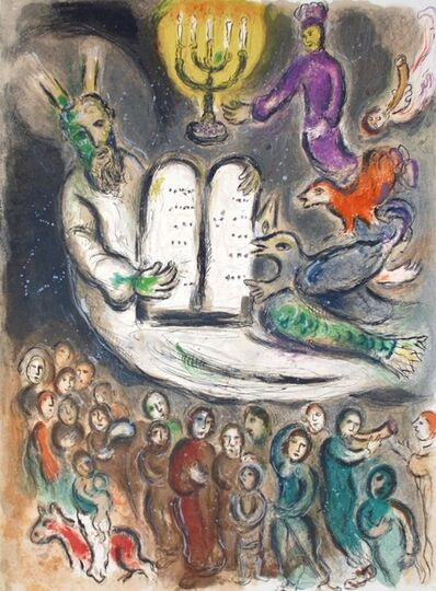 Marc Chagall, 'Moses Shows the Elders the Tablets of the Law, The Story Of The Exodus', 1966