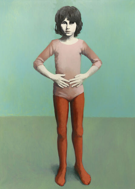 Claerwen James, 'Girl in Pink and red Against Turquoise', 2018