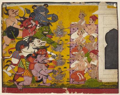 'Deities and Demons Performing the Yajna Sacrifice from the Devi Mahatmya', 18th century