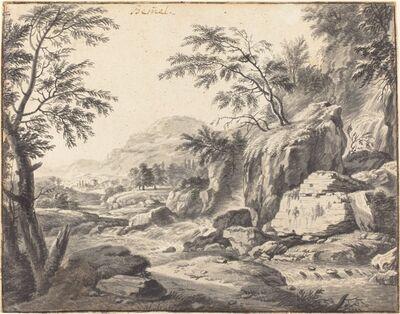 Wilhelm von Bemmel, 'Classical Landscape with a Waterfall', ca. 1660