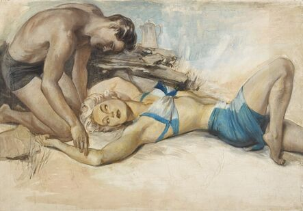 John Lagatta, 'Woman in Blue Two-Piece Bathing Suit Laying on Beach with Man in Bathing Su', ca. 1940