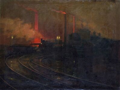 Lionel Walden, 'Steelworks, Cardiff, at Night', 1895-1897
