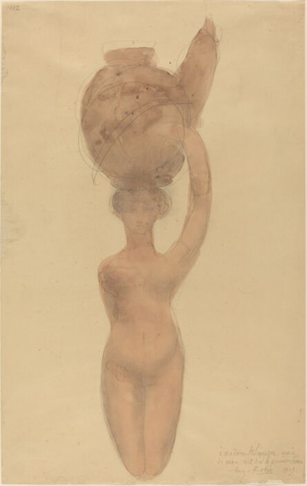 Auguste Rodin, 'Nude Woman Carrying Vase on Head', 1909