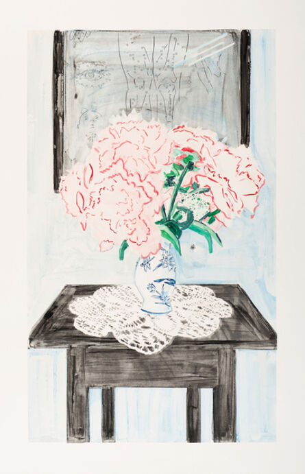 Stella Ebner, 'Peonies, Dragonfly Vase and Common House Spider (at the Acupuncturist)', 2019