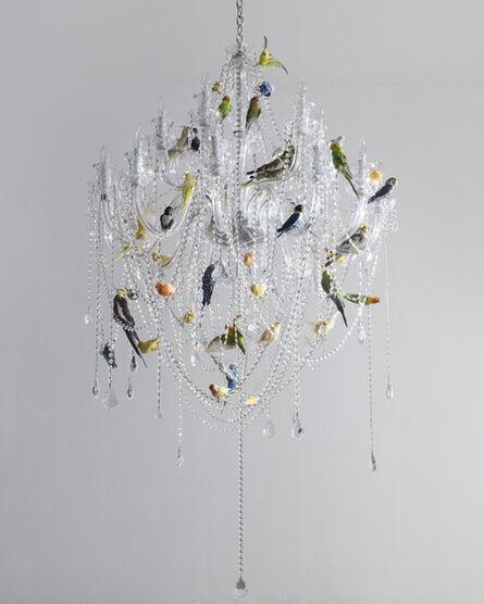 "Sebastian Errazuriz, '""Bird Chandelier."" Crystal chandelier with taxidermy birds', 2018"