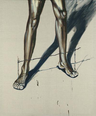 Marco Spitzar, 'Gelehrtenbeine, Goal- Balance on the Beach', 2015