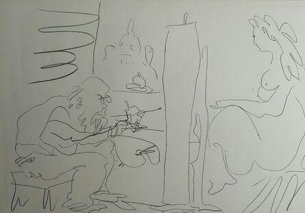 Pablo Picasso, 'Peintre et son modèle, 1962 - Original Lithograph (big margins)', 1962
