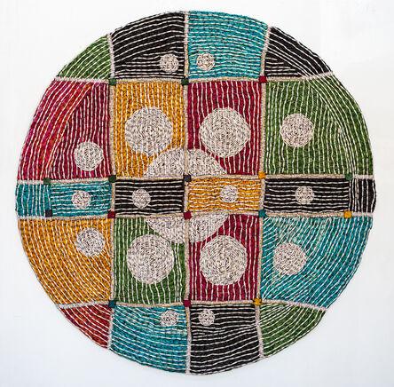 Sanaa Gateja, 'Addressed, ,Paperbeads on barcloth, 140 diameter', 2018