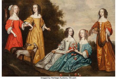 English School (17th Century), 'Group portrait of five women in a landscape', circa 1650