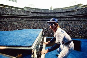 Terry O'Neill, 'Elton John, Dodgers Stadium - Colour', 1975