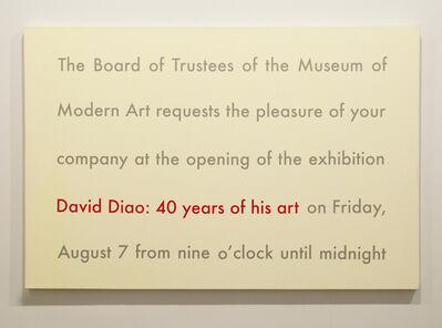 David Diao, '40 Years of His Art', 2013