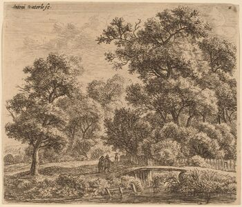Anthonie Waterloo, 'Wooded Landscape with a Bridge'