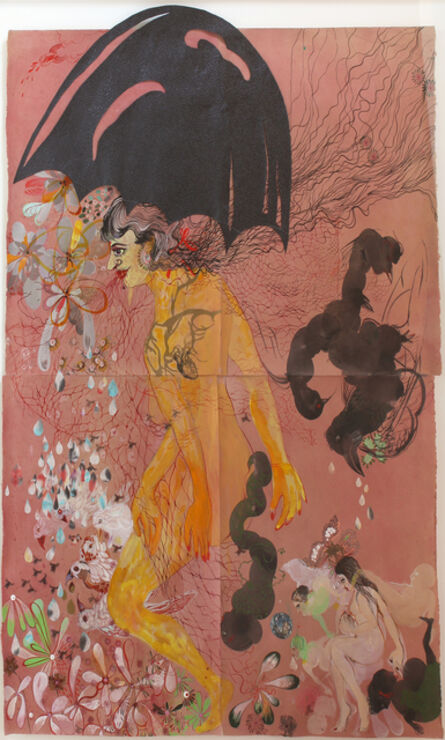 Rina Banerjee, 'The last population unsorted and tangled, smaller and larger, darker and brighter all fell under her black umbrella, nets thrashing from her red mouth', 2012