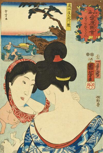 Utagawa Kuniyoshi, 'Wanting to Tweeze the Nape of the Neck / Air Bladders of Fish from the Sunomata River in Tōtōmi Province', 1852