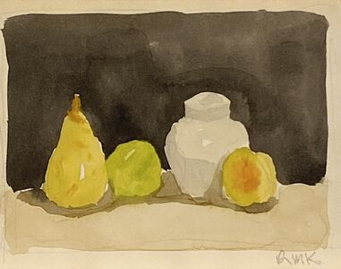 Robert Kulicke, 'Three Fruit and White Covered Jar on a Shelf', Not dated