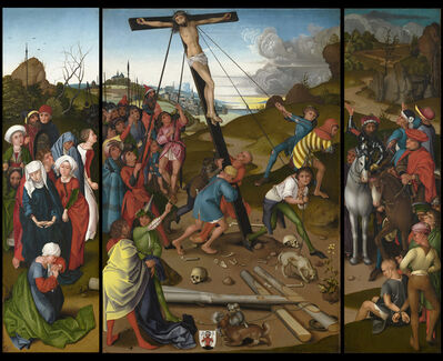 Master of the Starck Triptych, 'The Raising of the Cross [center, left, and right panels]', ca. 1480/1490