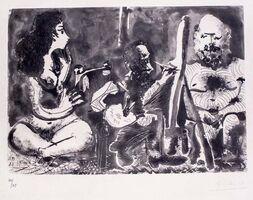 Pablo Picasso, 'Peintre au Travail avec Modèle barbu et une Spectatrice en Tailleur', 1963