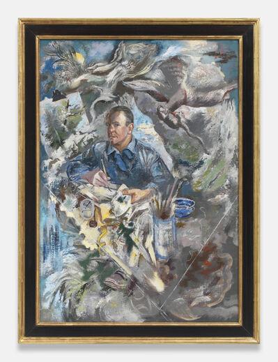 George Grosz, 'z Self Portrait with Bird of Prey and Rat', 1940
