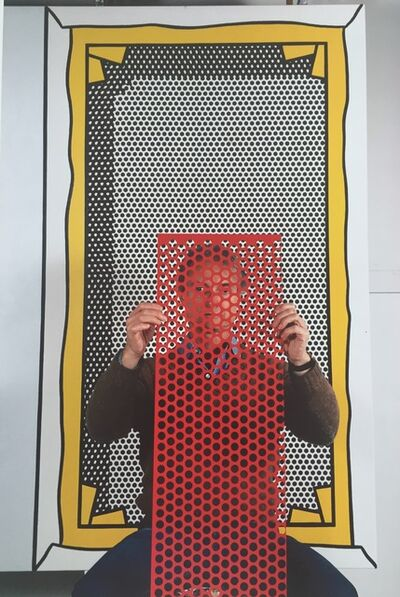 Thomas Hoepker, 'Roy Lichtenstein with painting and dot template at his Southhampton studio, New York ', 1982
