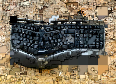 exonemo, 'A shot computer keyboard, sliced', 2020