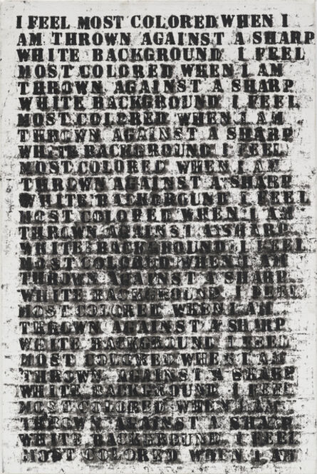 Glenn Ligon, 'Untitled (study for large untitled (I Feel Most Colored When I Am Thrown Against A Sharp White Background))', 1990