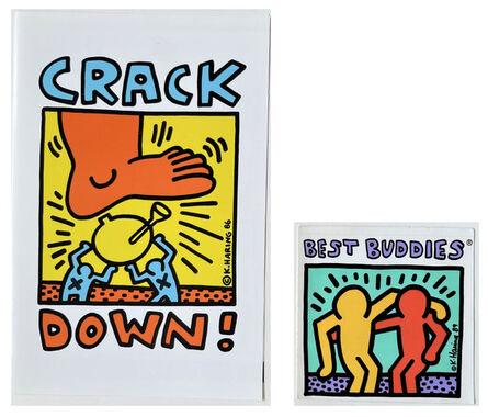 """Keith Haring, '2 PIECE SET- """"Crack Down Fund"""", 1986, Pamphlet & """"Best Buddies"""", 1986, Sticker', 1986"""