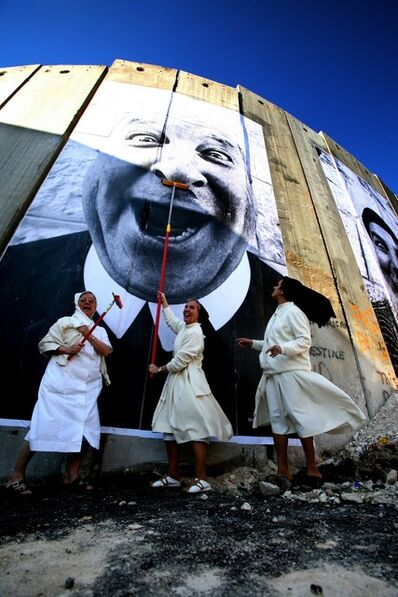 JR, '28 Millimètres: Face 2 Face, NUNS IN ACTION, SEPARATION WALL; SECURITY FENCE, PALESTINIAN SIDE, BETHLEHEM', 2007