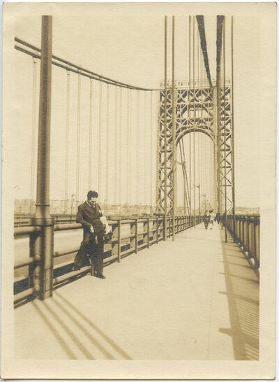 Alexander Artway, 'George Washington Bridge with Martin D'Esseu in foreground', April 28-1935