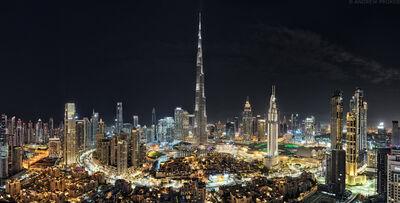 Andrew Prokos, 'Burj Khalifa Dubai Cityscape, Night', 2020