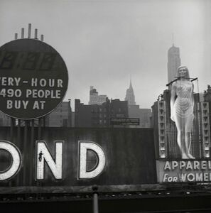 Eve Arnold, 'Times Square clothing shop advertisement. New York City, USA.', 1950