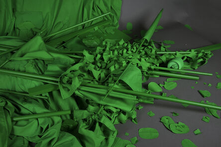 Stephanie Syjuco, 'Chromakey Aftermath 2 (Flags, Sticks, and Barriers)', 2017