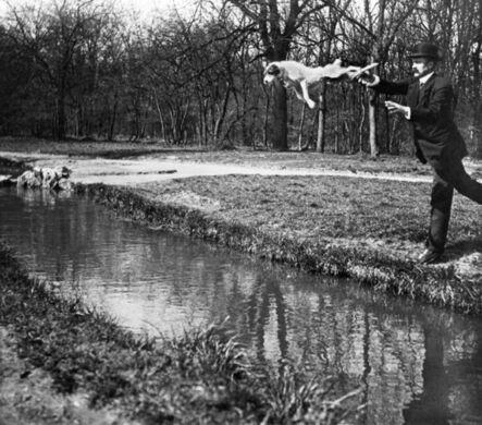 Jacques-Henri Lartigue, 'Bois de Boulogne Monsieur Folletete Le Secretaire de Papa avec son chien, Tupy. Paris', 1912-printed 1978 under the supervision of the photographer