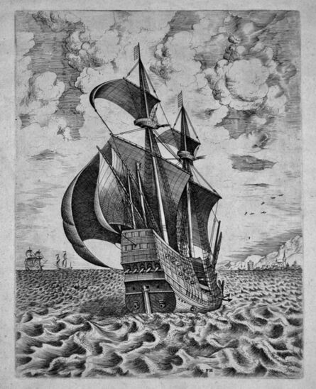 after Pieter Bruegel the Elder, 'Armed Four-Master Sailing Towards a Port from The Sailing Vessels', 1561-1565