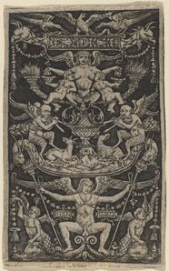 Peregrino da Cesena, 'Panel of Ornament with a Satyress Feeding Two Children', ca. 1505/1520