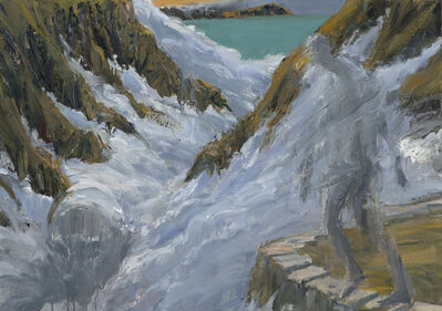 Euan Macleod, 'Figure & head in fog', 2018