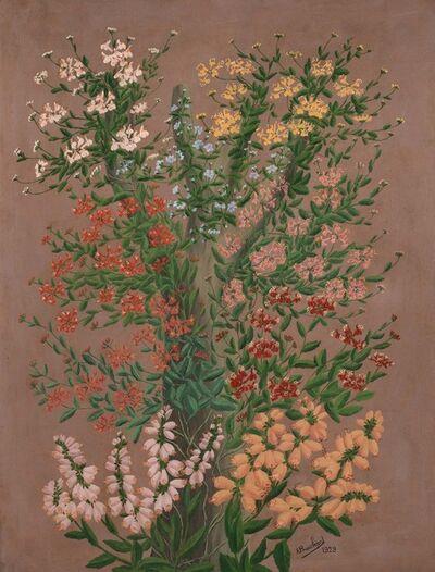 André Bauchant, 'Fleurs [digitales] au tronc d'arbre', 1929