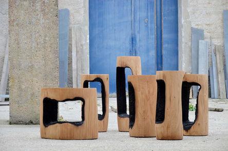 Kaspar Hamacher, 'Ausgebrannt Stools / Low Tables Inner Center', 2017