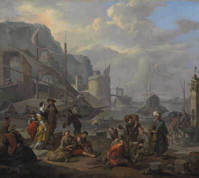 Johannes Lingelbach, 'A Mediterranean port with an elegant couple and travelers resting by the quay', 1665