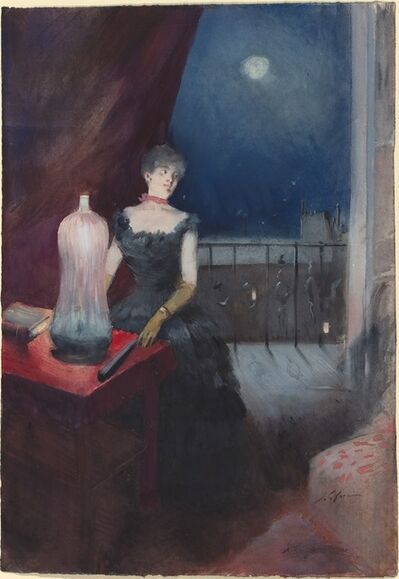Jean-Louis Forain, 'Standing Woman with a Fan', probably 1880/1890