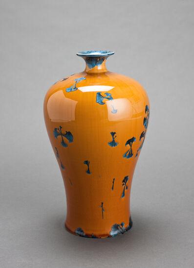 Hongwei Li, 'Mei ping vase, splash peacock blue glaze'