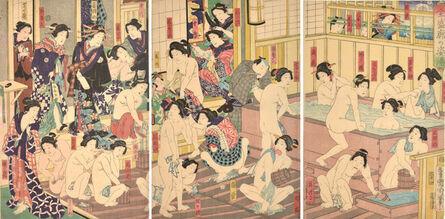 Toyohara Kunichika, 'Kabuki Actors at the Yoshiwara Bath', 1868