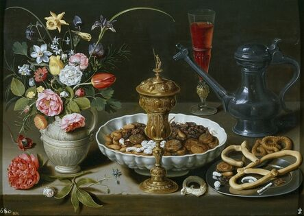 Clara Peeters, 'Still Life with Flowers, Goblet, Dried Fruit, and Pretzels', 1611