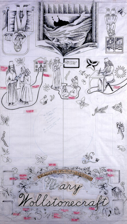 Judy Chicago, 'Mary Wollstonecraft, Gridded Runner Drawing from The Dinner Party'