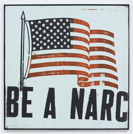 Mark Flood, 'Be A Narc Flag [Pale Green]', 1992