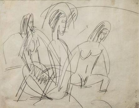 Ernst Ludwig Kirchner, 'Drei Badende an Steinen (Three Bathers by Stones)', 1913
