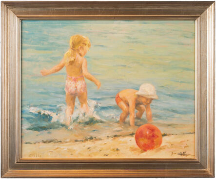 Marie Stobbe, ''At the Beach,' Scene of Children Playing by Marie Stobbe, Oil on Masonite Painting ', ca. 1980