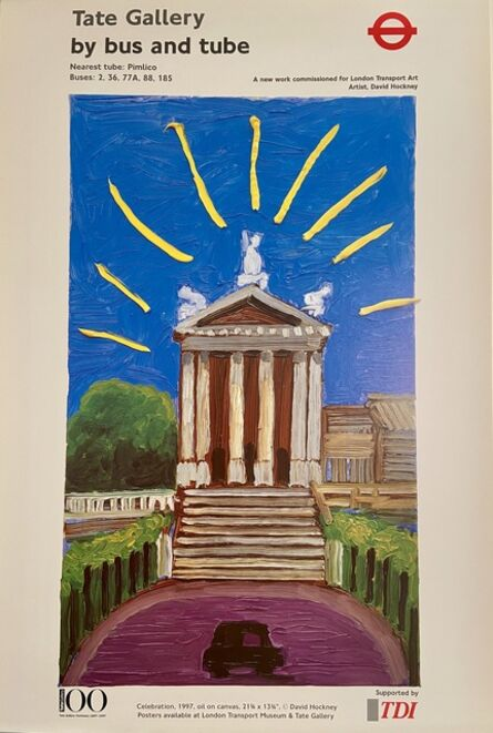 David Hockney, 'David Hockney, Tate Gallery Centenary `1897 to 1997, Tate Gallery by Bus or Tube Poster', 1997